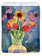 Flowers In Glass Vase Duvet Cover