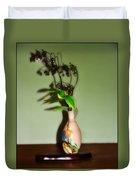 Flowers In Japanese Vase Duvet Cover