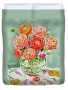 Flowers In The Glass Vase Duvet Cover