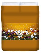 Flowers In The Sunset  Duvet Cover