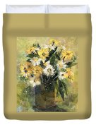 Flowers In White And Yellow Duvet Cover