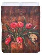 Flowers Of Pink In Vase Duvet Cover