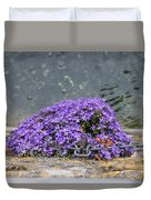 Flowers On The Stone Wall Duvet Cover