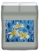 Flowers On Water Ripples Duvet Cover