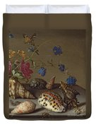 Flowers, Shells And Insects On A Stone Ledge Duvet Cover