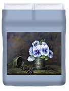 Flowers,pansies Still Life Duvet Cover by Katalin Luczay