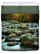 Flowing River On Greenbrier Cove Road Smoky Mountains National P Duvet Cover