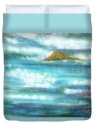 Flowing River With Briliant Sun Reflections And Stone, Closeup Painting Detail. Duvet Cover