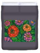 Flowing Zinnias Duvet Cover