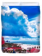 Fluffy Clouds Over Clearwater Beach Duvet Cover