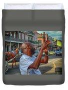 Flute Musician In New Orleans Duvet Cover
