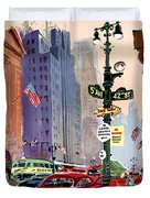 Fly Bcpa To America Vintage Poster Restored Duvet Cover