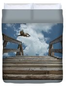 Fly By At The Beach - Brown Pelican And Rustic Stairs Duvet Cover