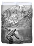 Fly Fishing In A Mountain Lake Duvet Cover