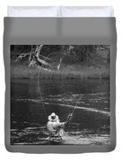 Fly Fishing In Black And White Duvet Cover