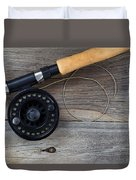 Fly Fishing Reel And Line On Rustic Wood  Duvet Cover