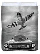Fly Past - 1966 Mustang With P47 Thunderbolt In Black And White Duvet Cover