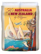 Fly To Australia And New Zealand, Airline Poster Duvet Cover