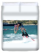 Flyboarder Bending Over To Dive Into Water Duvet Cover