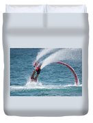 Flyboarder In Red Entering Water With Spray Duvet Cover