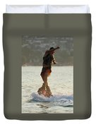 Flyboarder Twisting Upper Body Just Above Waves Duvet Cover