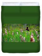 Flying Amongst Cattails Duvet Cover