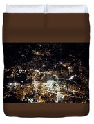 Flying At Night Over Cities Below Duvet Cover