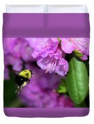 Flying Bee Collecting Pollen Duvet Cover