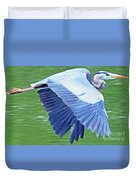 Flying Great Blue Heron Duvet Cover