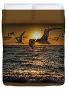Flying Gulls At Sunset Duvet Cover