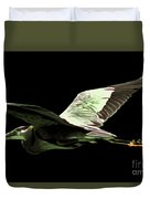 Flying Heron With Black Background Duvet Cover