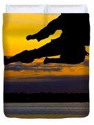 Flying Kick Over Muskegon Lake Duvet Cover