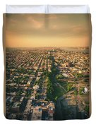 Flying Over Jersey City Duvet Cover