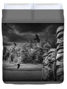 Flying Ravens And Totem Poles In Black And White Duvet Cover