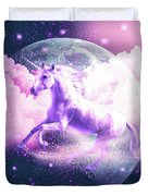 Flying Space Galaxy Unicorn Duvet Cover