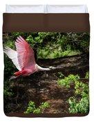 Flying Spoonbill Duvet Cover