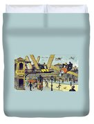 Flying Taxicabs, 1900s French Postcard Duvet Cover