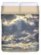 Flying Through Sun Rays Duvet Cover