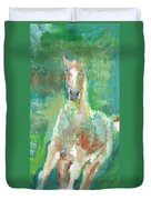 Foal  With Shades Of Green Duvet Cover