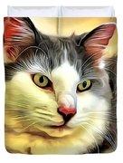 Focused Feline Duvet Cover