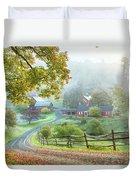 Fog On Sleepy Hollow Farm Duvet Cover
