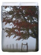 Foggy Autumn Morning In Cades Cove Duvet Cover