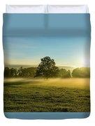 Foggy Autumn Morning On The Farm Duvet Cover