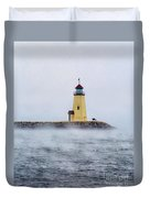 Foggy Day At The Lighthouse Duvet Cover