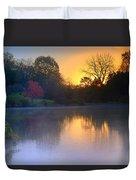 Foggy Fall Sunrise Duvet Cover