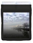 Foggy Hudson River Shore Duvet Cover