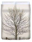 Foggy Lone Tree Hill Duvet Cover