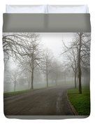 Foggy Morning At The Park Winding Path Duvet Cover