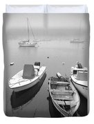 Foggy Morning In Cape Cod Black And White Duvet Cover