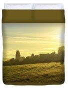 Foggy Morning Over Kennet Village Duvet Cover